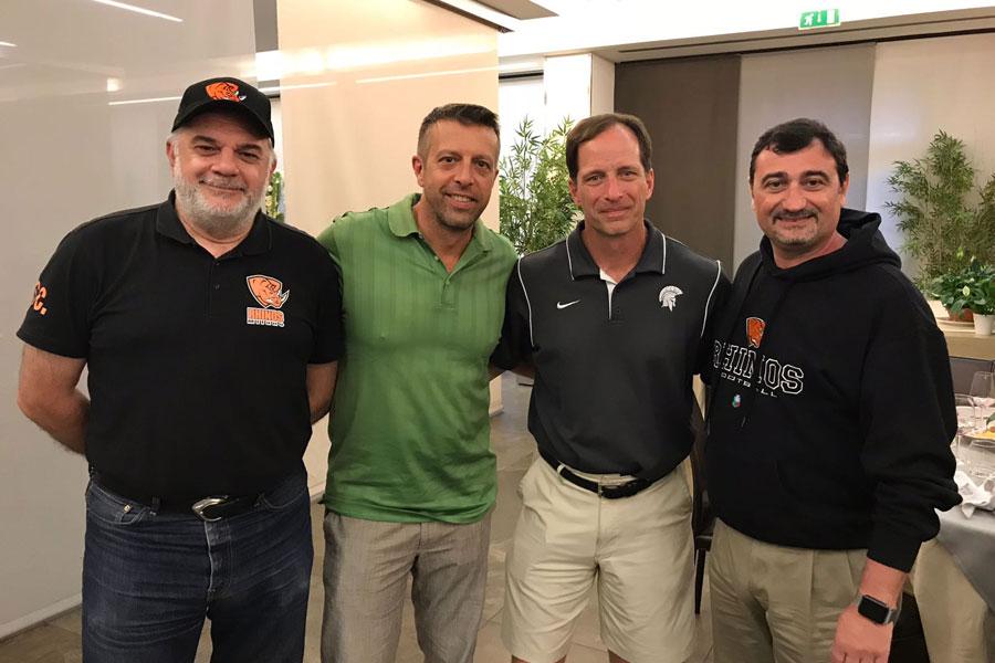 Coach Capelli, coach D'Ambrosio, coach Debeljak e il Presidente Depaoli
